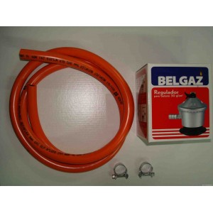 Kit Gas Butano: 2mts Goma + 1 Regulador + 2 Abrazaderas